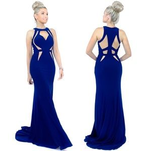 Navy Blue Fitted Pageant Evening Gown Prom Dress